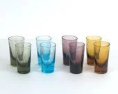 Set of Eight Multi Colored Etched Glass Shot Glasses - BlackMagicEmporium