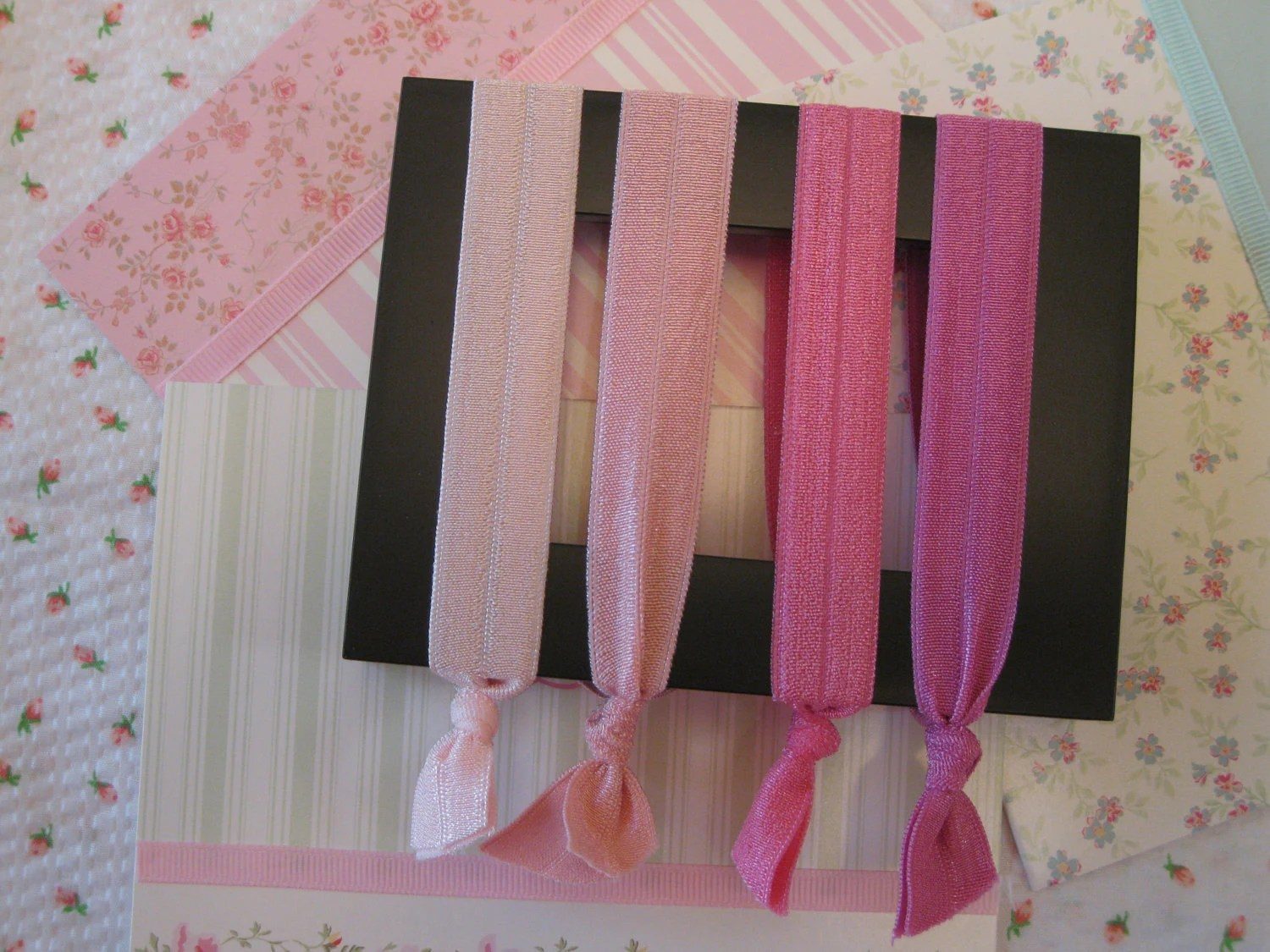 Four Pinks Hair Ties - Four Shades of Pink  -   Shipped the Next Day