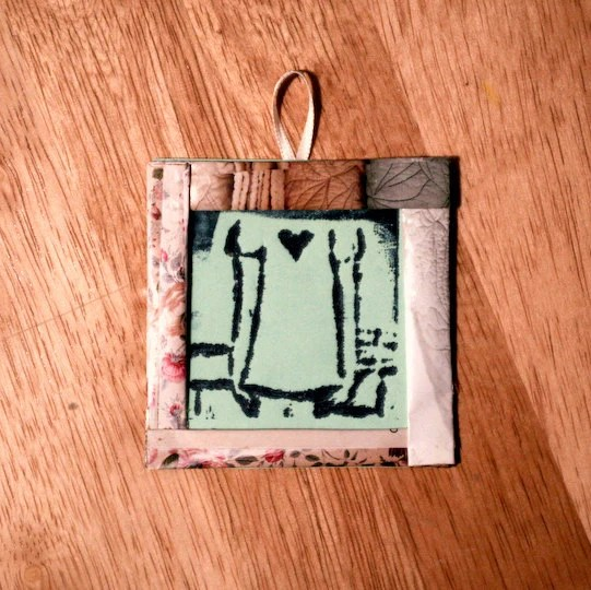 Small original letterpress print of girl with a heart in handmade frame