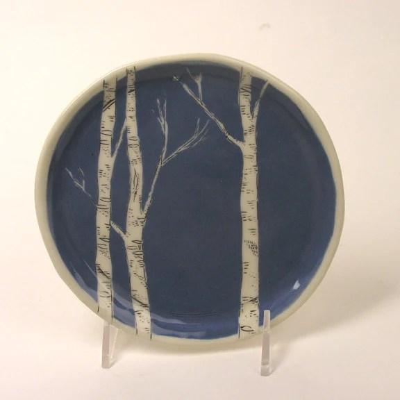 New Color - Blue Birch Dessert Plate - JosiesPotShop