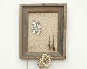 Dirty Blonde Polka Dot Barnwood Jewelry Holder - Tan and White 8 x 10