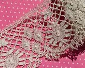 Vintage Lace Trim Bobbin Lace Ecru Cotton Lace -- Last Yard