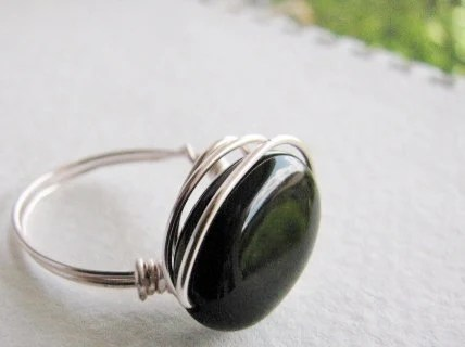 Onyx free form wire wrap ring, ring black onyx, copper with silver