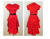 Vintage Tango Lessons Dress / Vtg Red Floral Dress With Ruffle Layers
