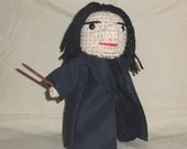 Severus Snape Crocheted Doll 7 Inches Tall  Ready to Ship