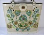 Vintage 60s ENID COLLINS Jeweled Floral BAG Summer Purse Handbag Tote