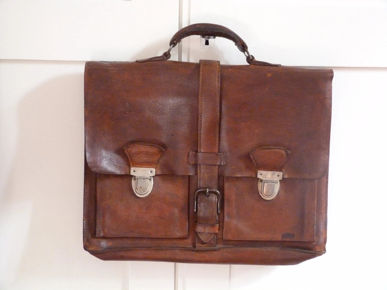 Unique vintage leather retro school bag