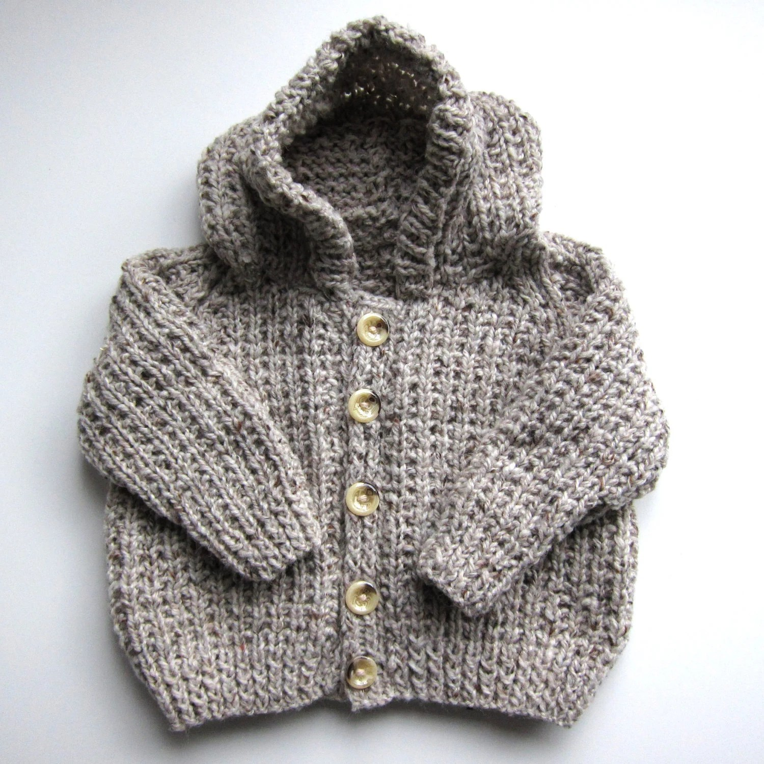 Hand Knit Beige Brown Child / Baby Hooded Cardigan Sweater