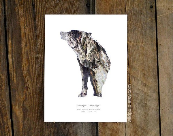 Wolf Silhouette In Bark : Woodland Animal Rustic home, Lodge, Cabin art - Wildlife Photography, Archival  Print - wildpulp