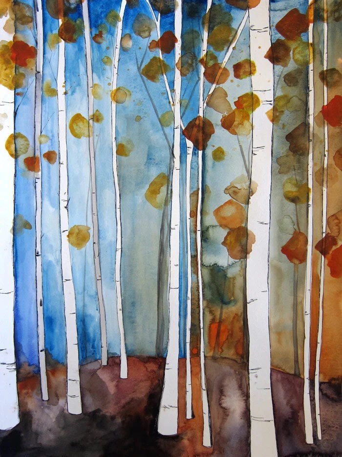 "SALE 30% Off - Fall Leaves II - Wall Art - Birch Trees Painting - Home Decor - Original Watercolor Illustration - 18""x24"" - Forest - Autumn - MaiAutumn"