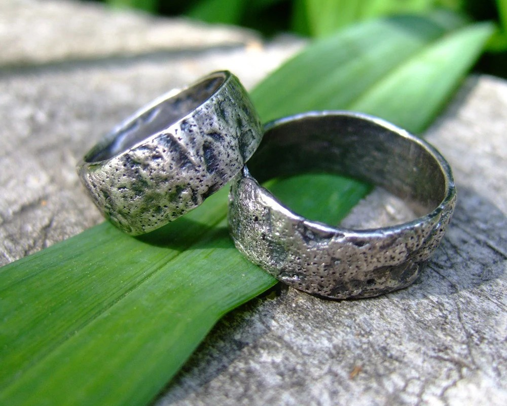 Strong Oak  handmade fine silver ring set