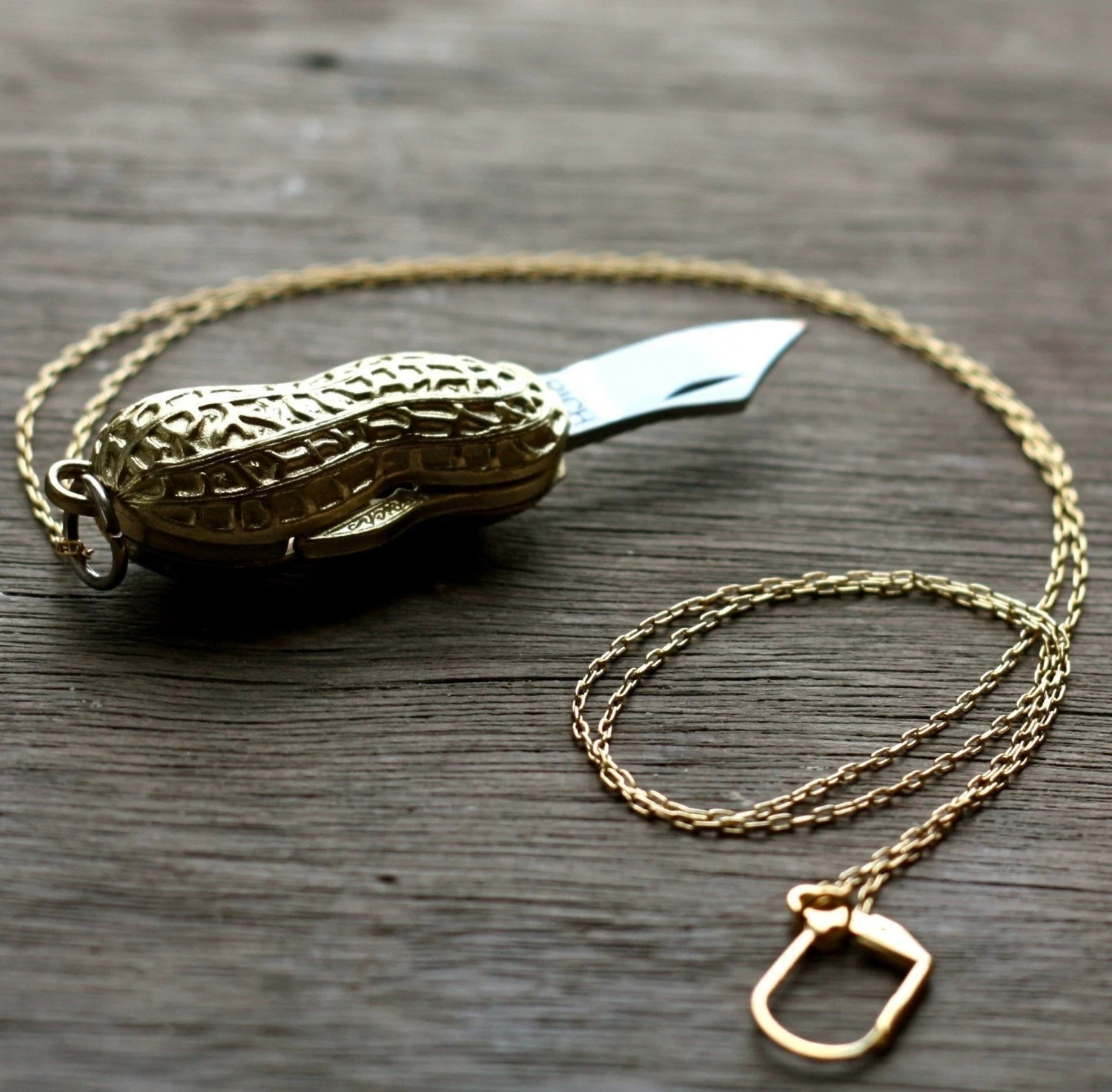 Peanut Pocket Knife Necklace Gold Goober Folding Blade