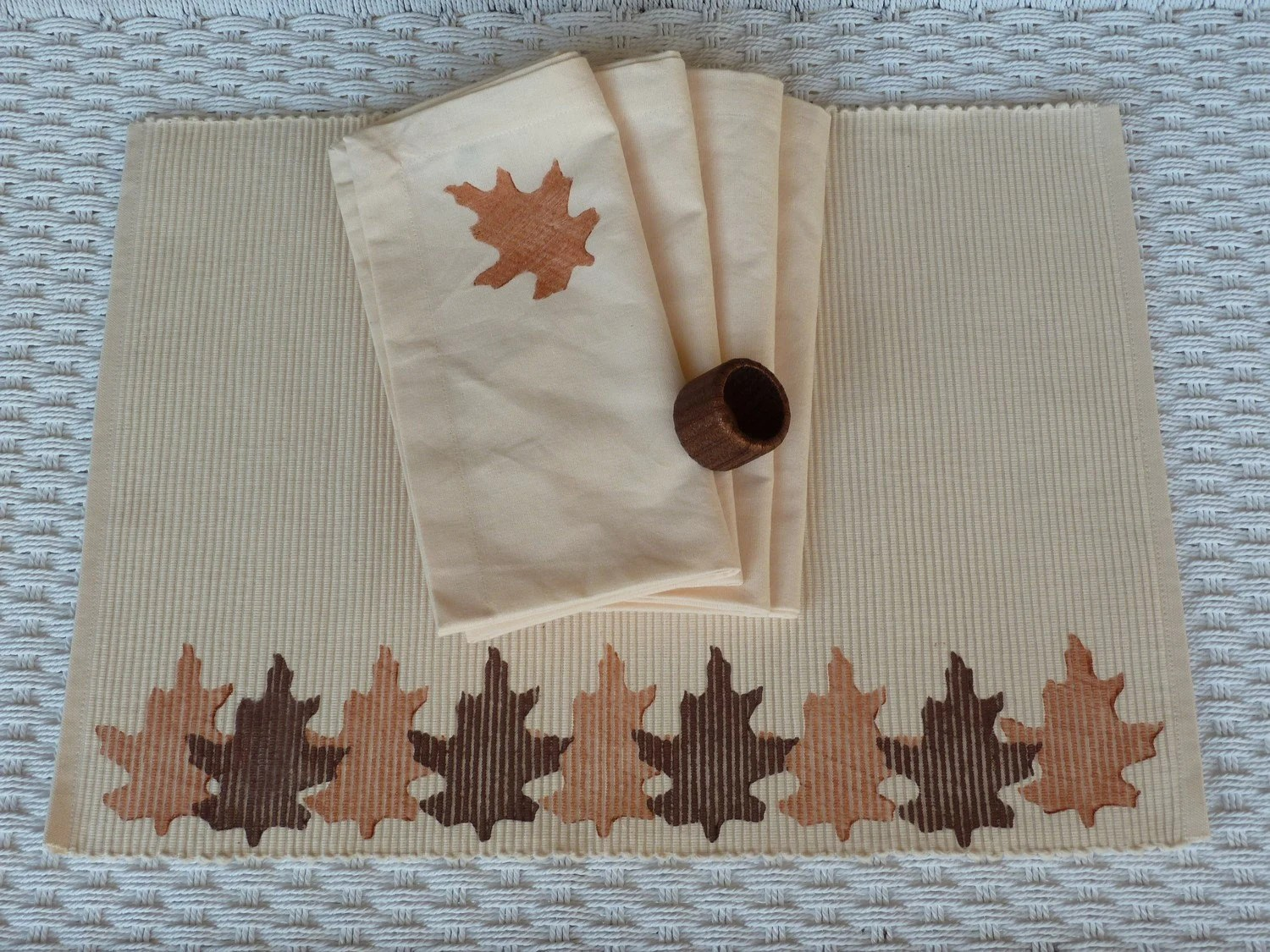 Cream, Brown and  Copper Leaf Placemats - Set of 4