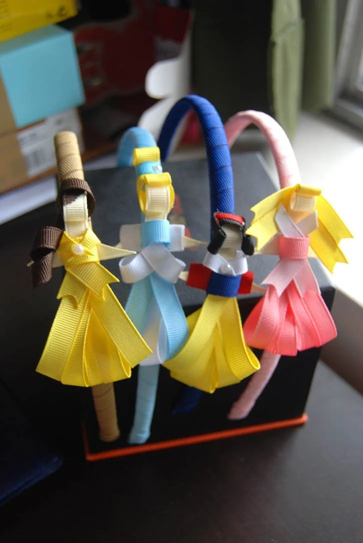 ribbon sculpture disney inspired princess clips or headband (price is for 3 of your choice)
