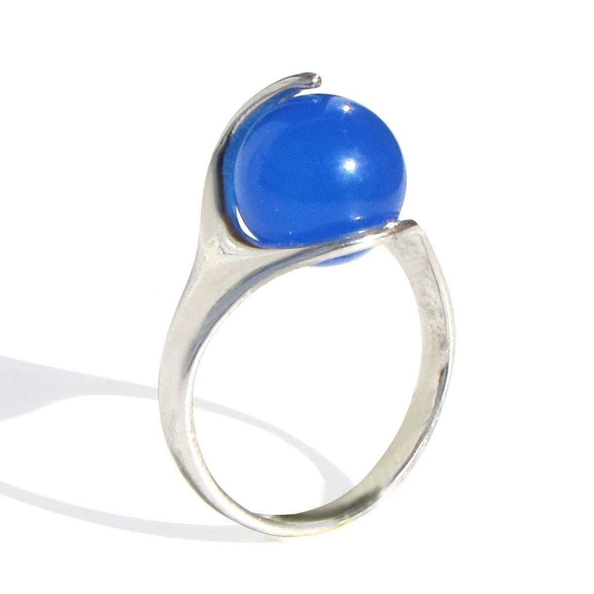 RA Egyptian Agate Ring Sterling Silver Blue Agate or Green Agate Custom Ring