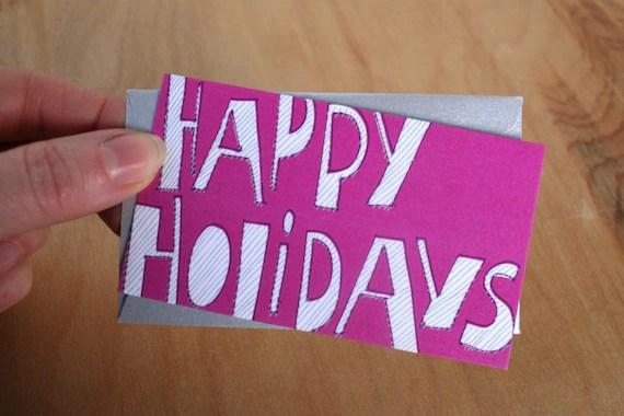 Happy Holidays - pink mini card
