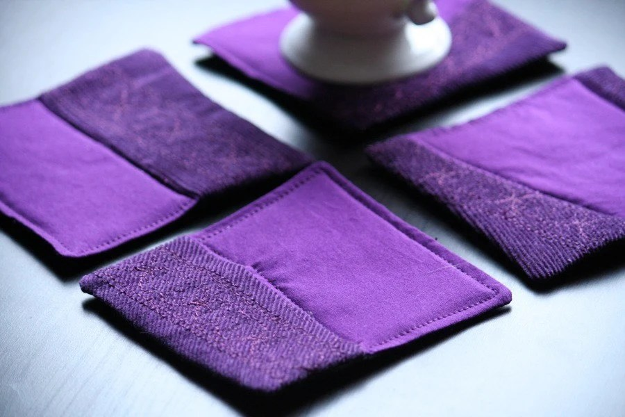 Set of 4 quilted purple coasters
