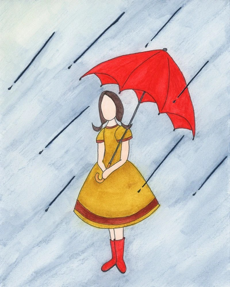 Rain Girl With Red Umbrella And Boots 8x10 Picture, Children Giclee Art Print, Brunette In Yellow Dress
