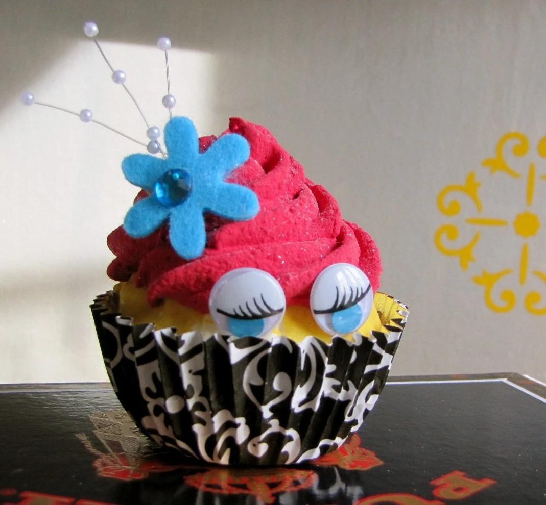 Fake Cupcake Coquettish Babette Cupcakes Damask Babette Bridal Shower Wedding Reception Decor Birthday Gift Business Card/Photo Holder