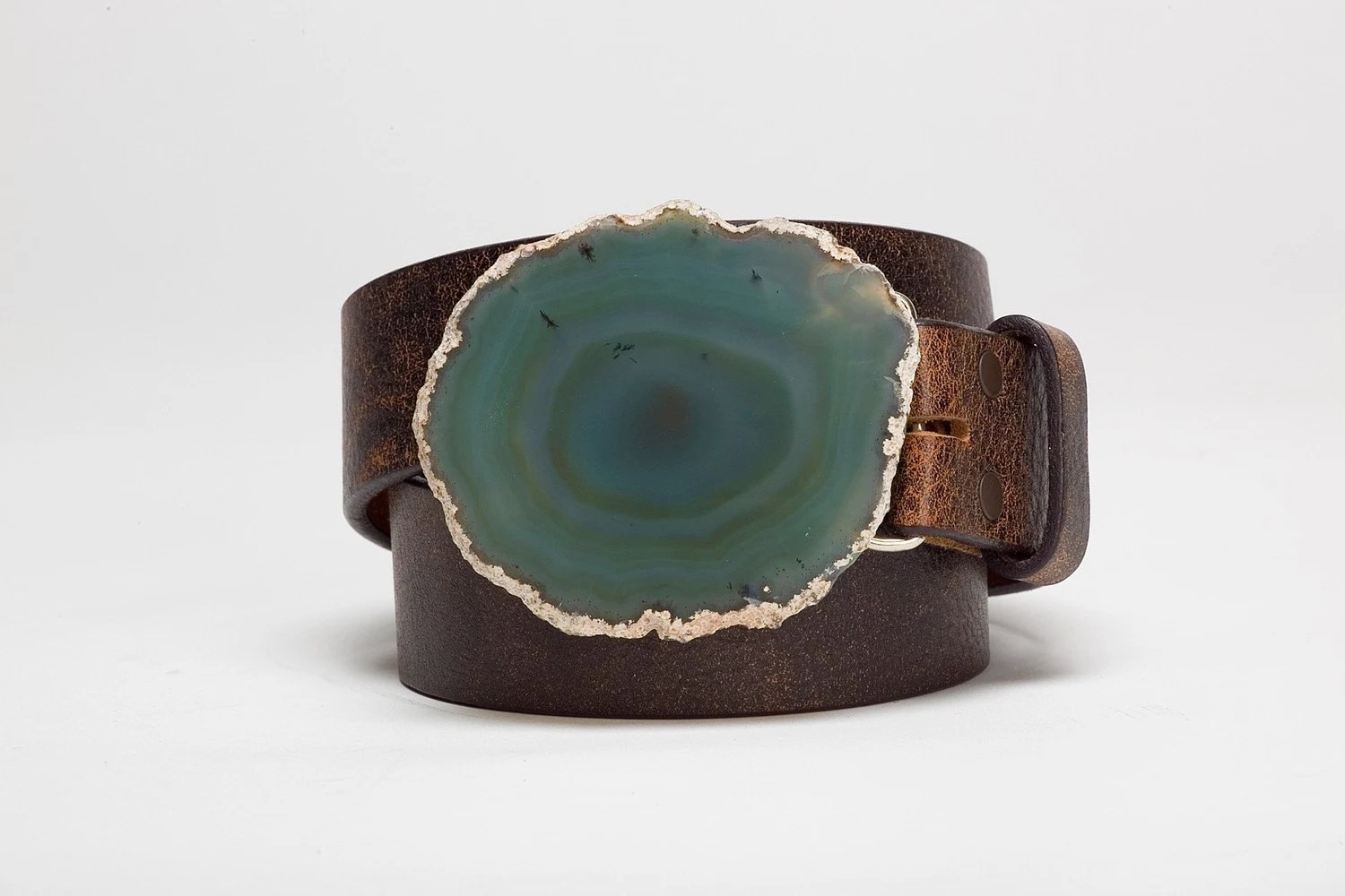 Teal Agate Leather Belt
