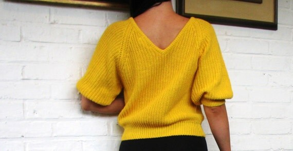 80s Chunky Sweater Cable Knit Jamie Scott Mustard Yellow V Neck Cropped Medium