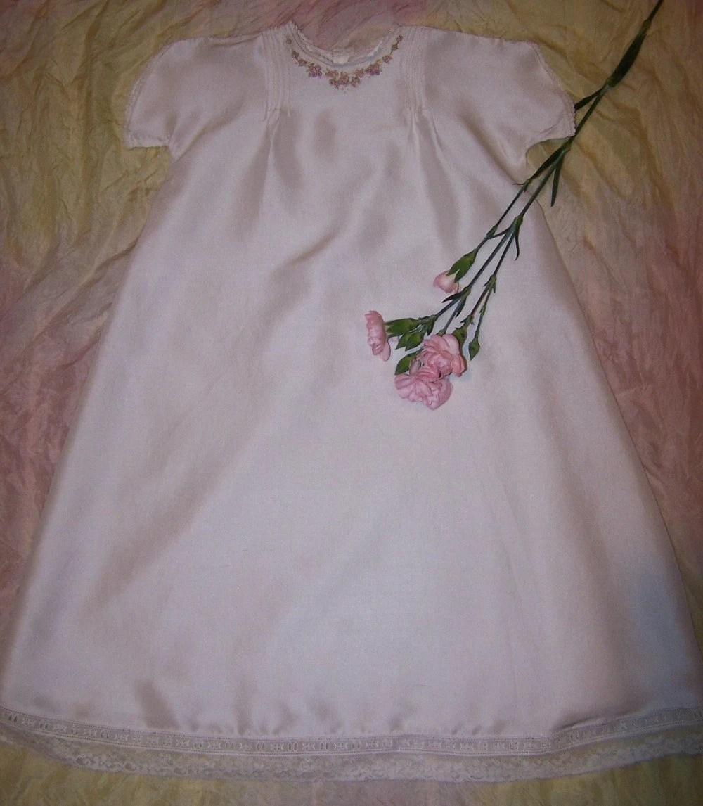 Hand Embroidered Silk Dupion Christening Dress