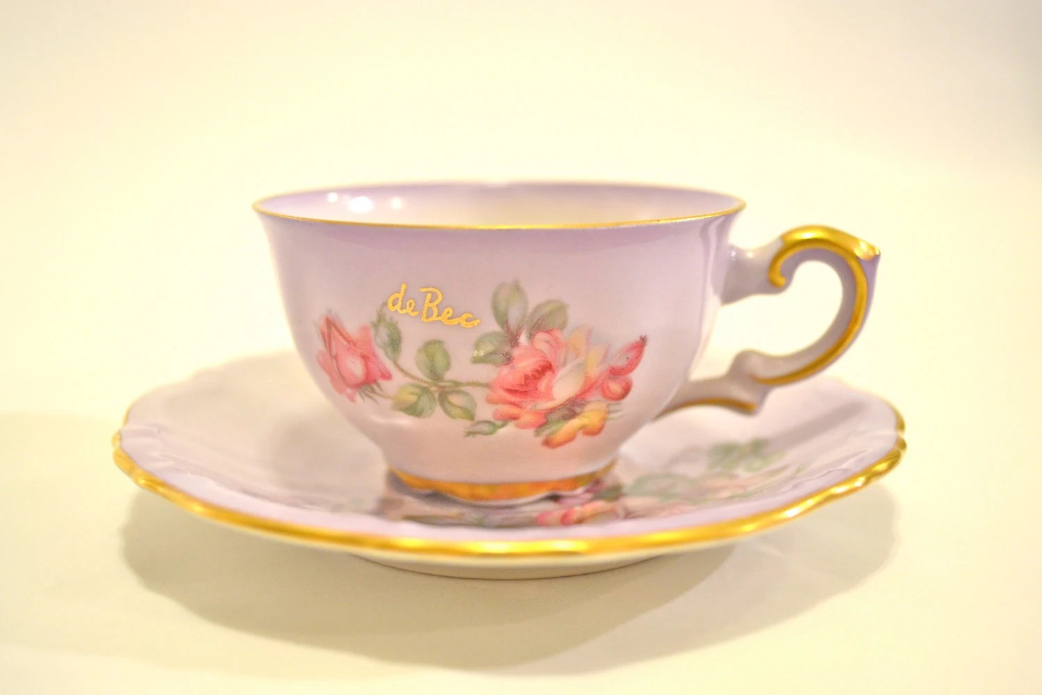 Antique French Student's Book with DeBec Tea Cup and Saucer