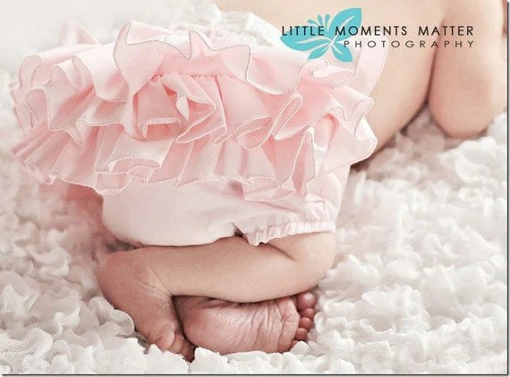 Pink Ruffle Baby Newborn Diaper Cover Bloomer Bloomer Fancy Pants Panty w/lots of Ruffles on the Butt Bottom by Bloomin' Bloomers