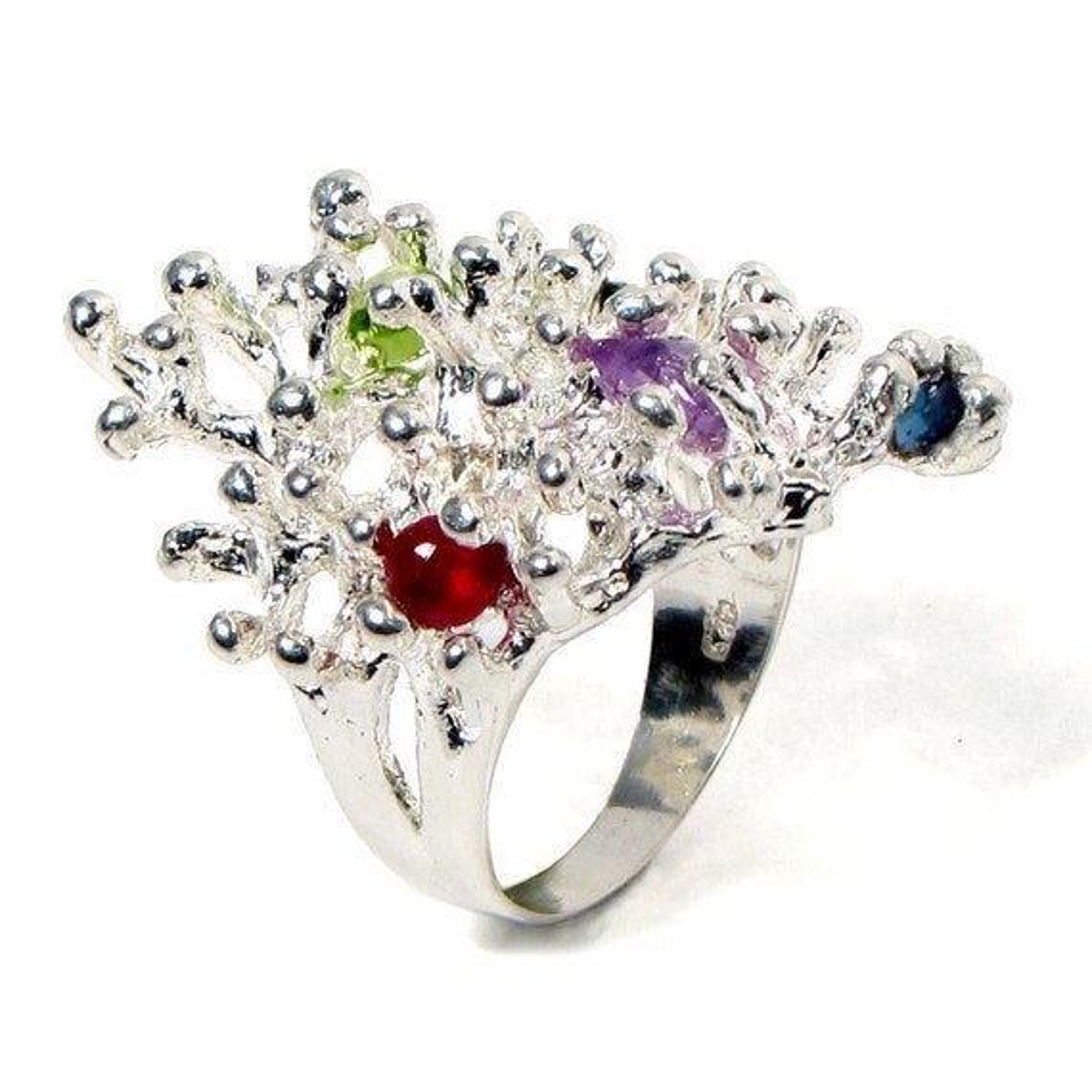 Sterling Silver Gemstone Ring Ruby Sapphire Tourmaline Peridot Amethyst Ooak - Enchanted Reef