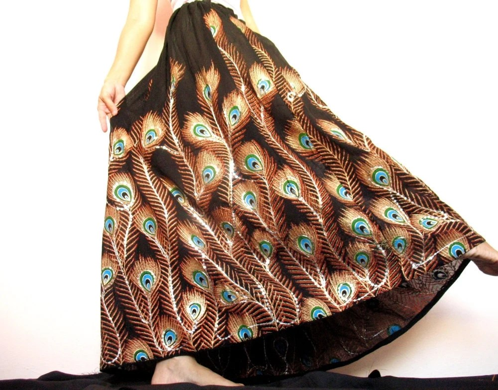 Amazing Peacock Maxi Skirt Hippie Long Skirt Art On Skirt Women Black Flowing Skirt XS S M L XL