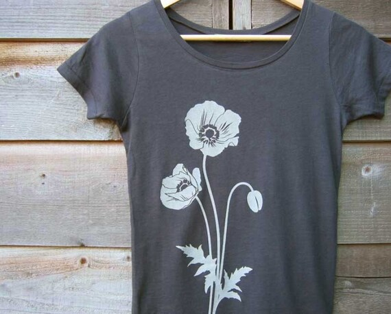 Organic Cotton T-shirt with Poppies (Earth Coal) - Scoop Neck