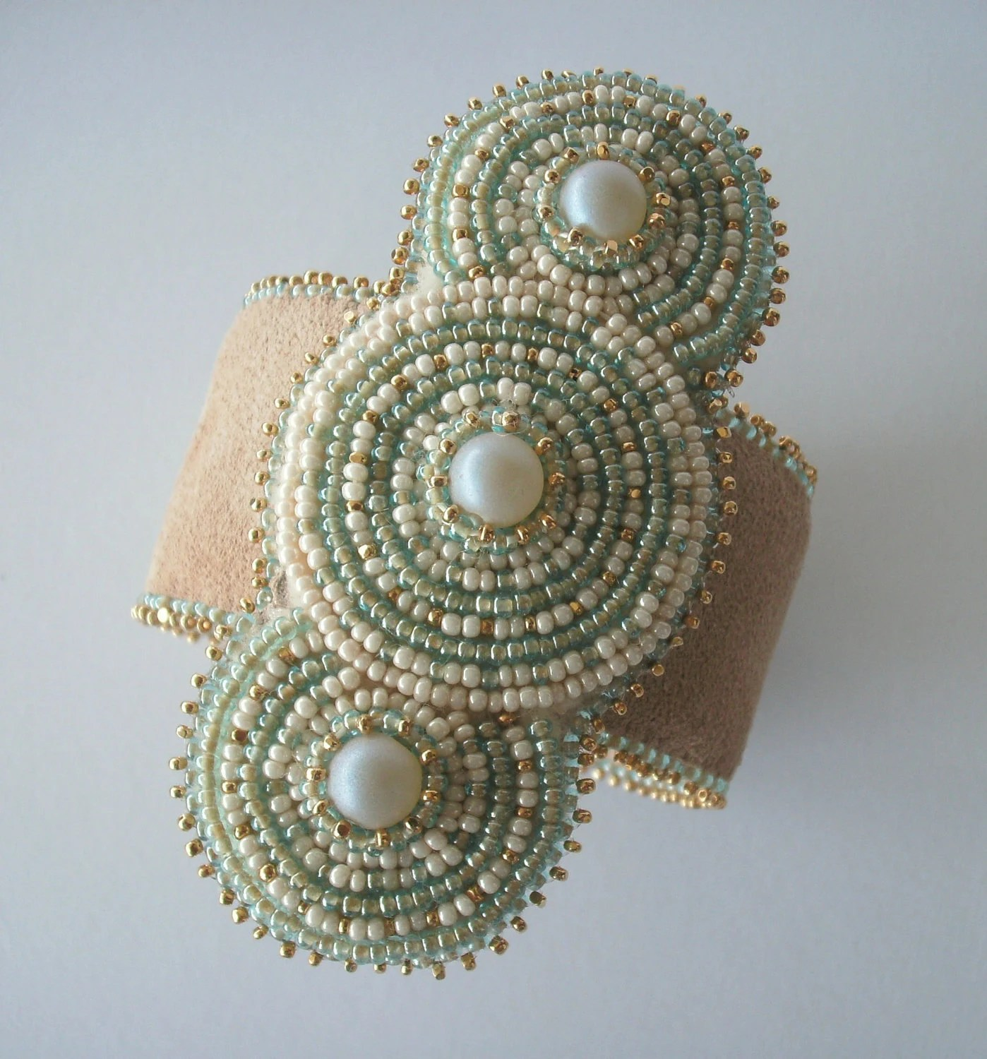 Bead Embroidered Pearl and Gold Bracelet Cuff