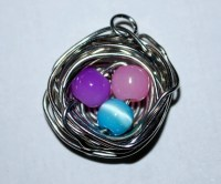 Birds' Nest Necklace with 3 Eggs: Pink, Purple, and Blue