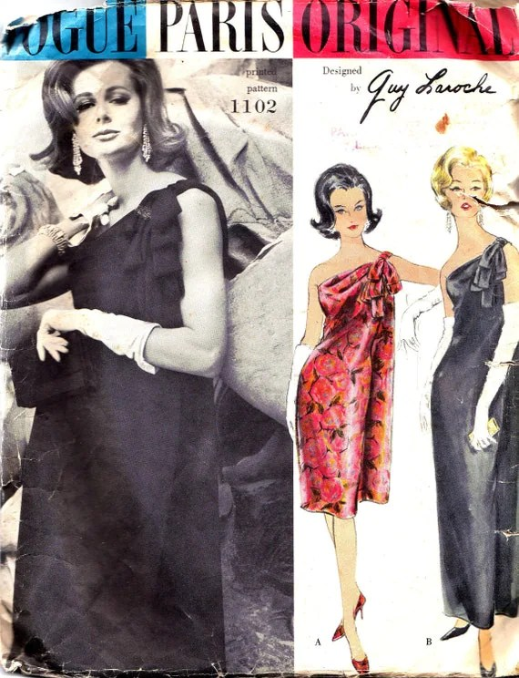 Vogue 1102 by Guy Laroche 1960s one-shouldered evening dress pattern
