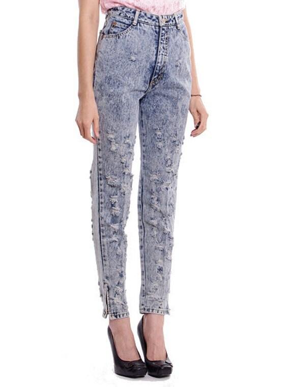 Vintage High Waist Jeans Skinny Acid Wash Distressed Denim Ankle Zip - S / M