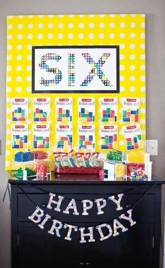 MODERN LEGO Inspired Birthday Party - Customized - Printable Age Sign