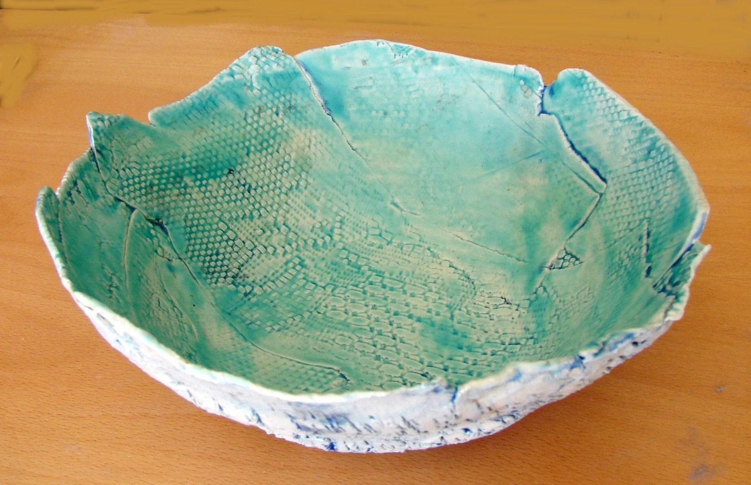 Large Aqua Stoneware Bowl