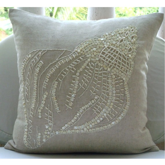 Sea Shell  - Euro Sham Covers - 26x26 Inches Linen Euro Sham Cover with Pearl Embroidery - TheHomeCentric