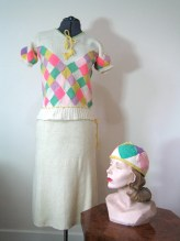 1930s-40s sweater set - hand knitted top, skirt and matching hat - S-M - wonderful