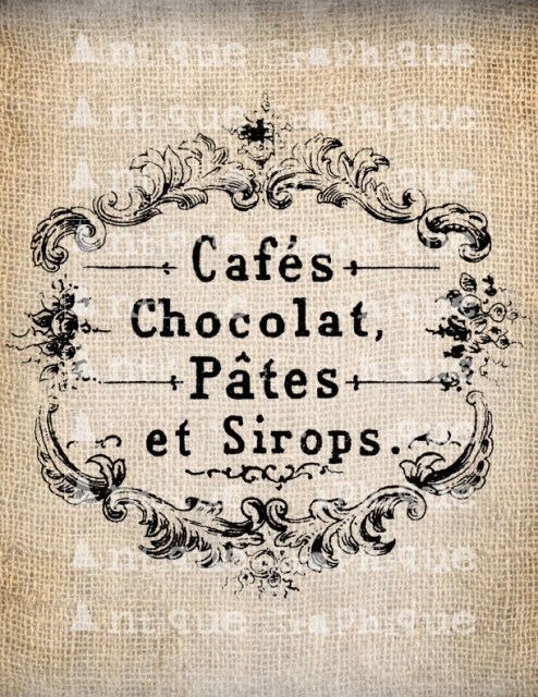 French Chocolate Script Frame Cafe Digital Download for Papercrafts, Transfer, Pillows, etc. No 2005