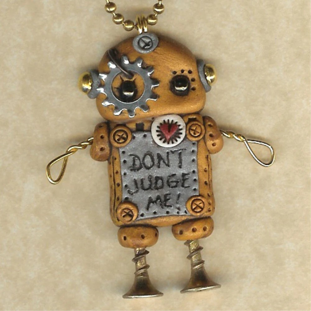 Steampunk Don't Judge Me Robot Necklace