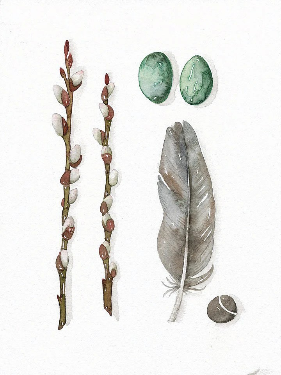 Original Watercolor Print Fine Art Illustration Feather Collection No.19 - (6 x 8) Original Watercolor Painting by Lorisworld