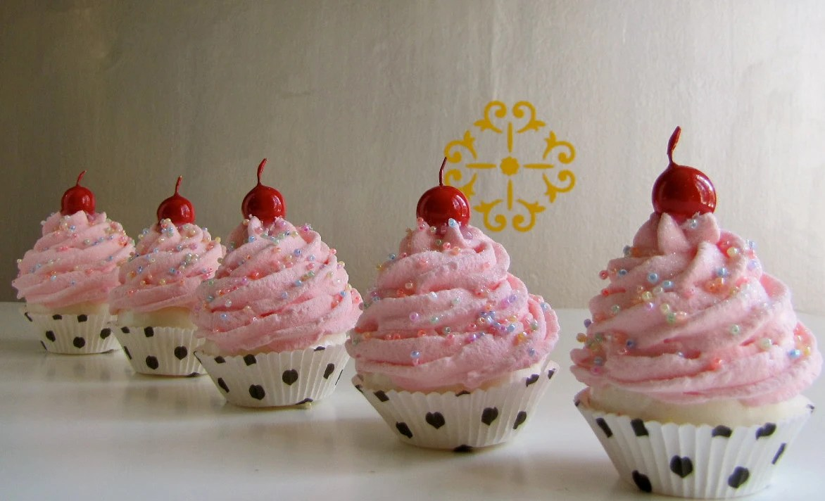Fake Cupcakes Pin Up Girl Rockabilly Insp Collection Mini Pink Cupcakes Set of 5 Can Be Made into Ornaments, Photo Holders