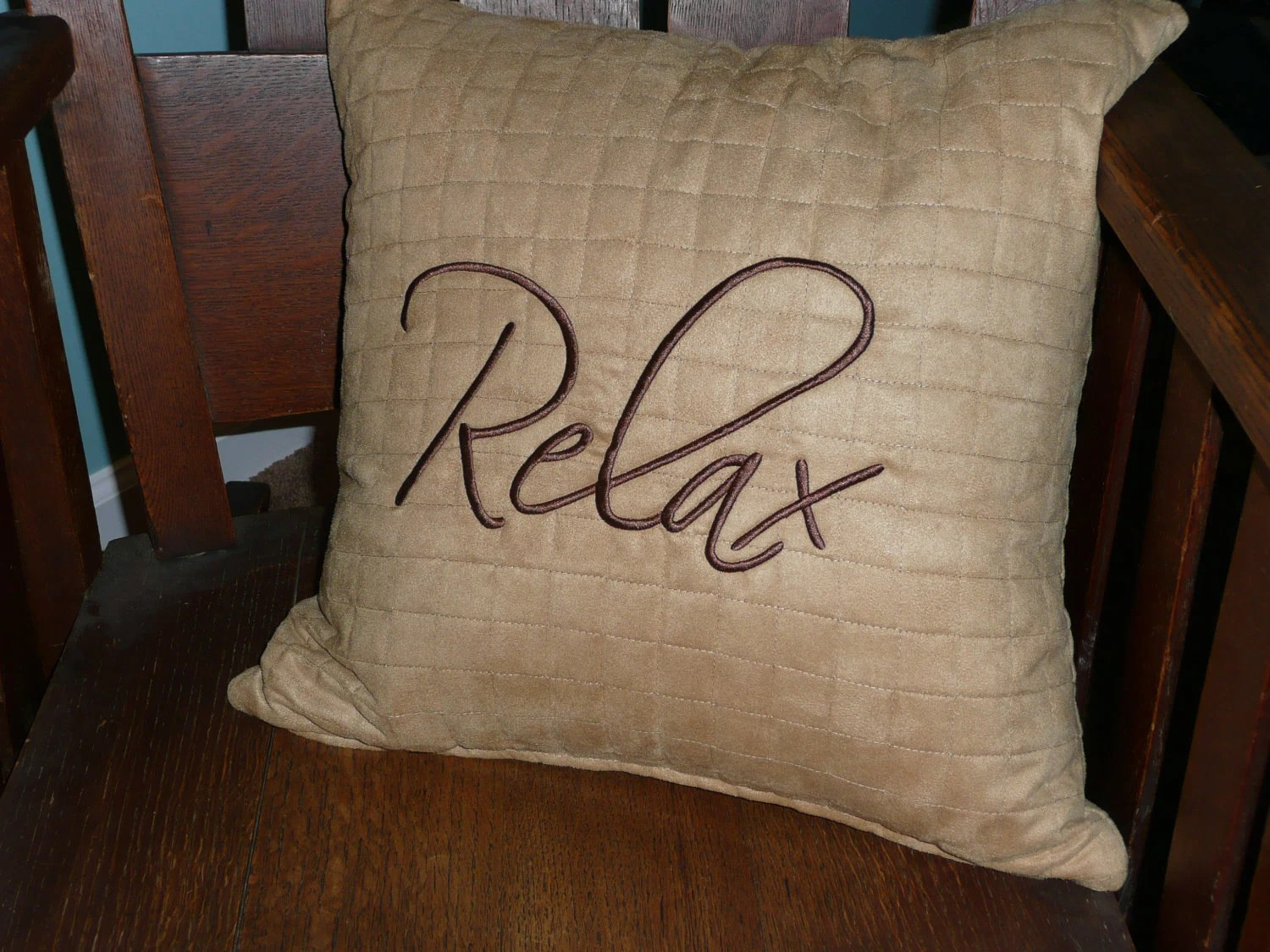 RELAX Embroidered Soft Quilted Throw Pillow Cover Faux Ultra Suede