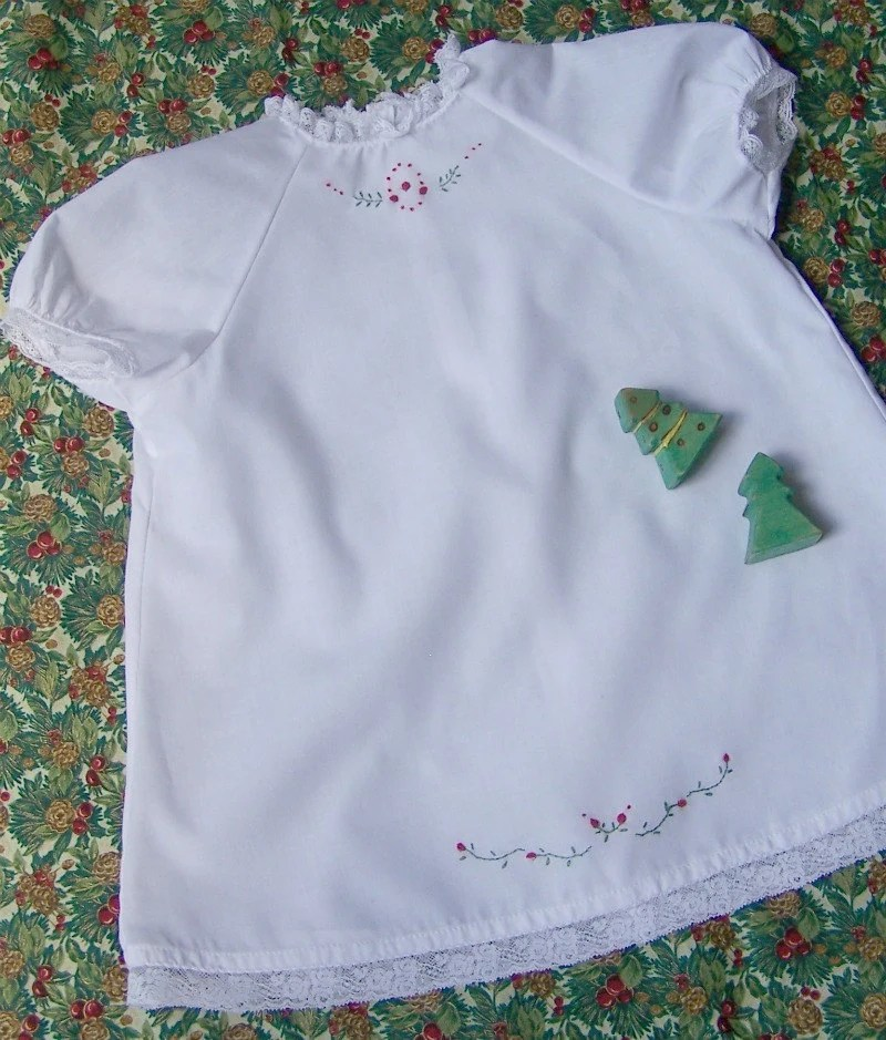 White Christmas Dress with Hand Embroidery size 6-12 month