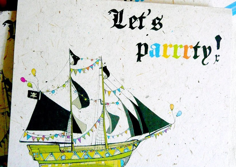 Let's Parrrty (hand-drawn pirate themed eco friendly card printed on banana paper)