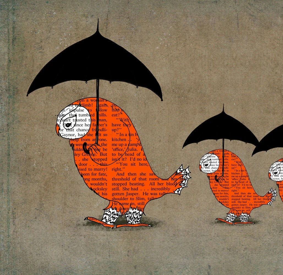 Orange owls black umbrellas  Giclee Art Print Limited edition 13''x19'' ( 33sm. x 50sm.)by Juri Romanov-OrangeOptimist