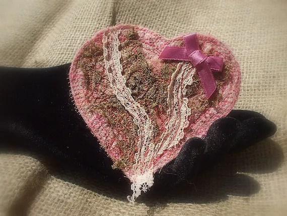 Textile Heart Brooch - Rose Gold Romance - Fiberart Fabric Pink and Gold Heart Brooch