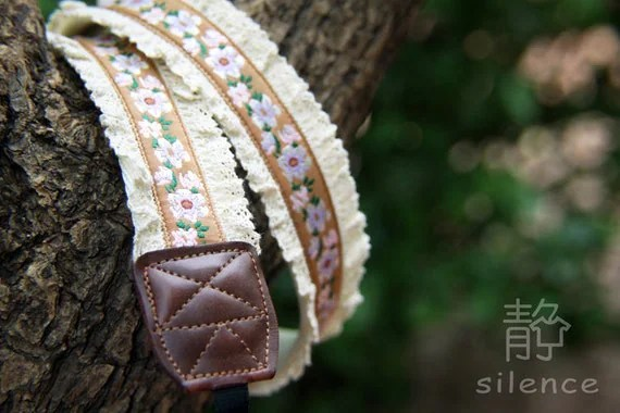 IN STOCK Last-Order - Handcrafted Durable Vintage Camera Strap with Leather Ends - M020 Jasmine flower