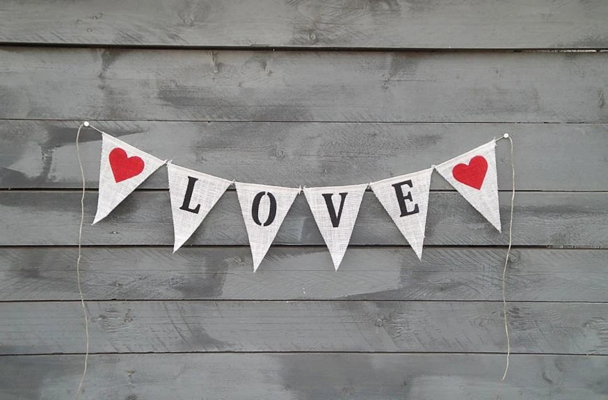 Love Burlap Banner Bunting with Red Hearts